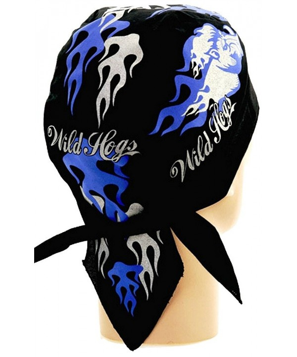 Skull Cap Biker Caps Doo Rags - Wild Hogs Blue & Silver w/ Flames on Black - CX12ELHM8HH