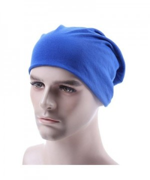 WEHOPS Unisex Soft Thin Stretchy Knit Cap Baggy Hat Slouchy Skull Long Beanie - Blue - CI12N9KHEWW