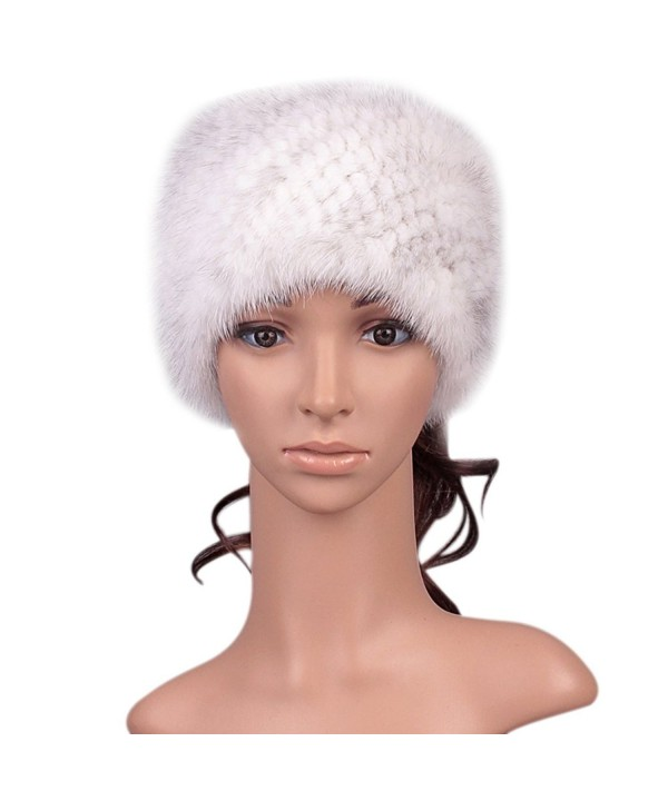 Roniky Womens Girls Genuine Mink Fur Knitted Headband for Skiing Snowboarding - Corss Mink - CW12LJEON9B