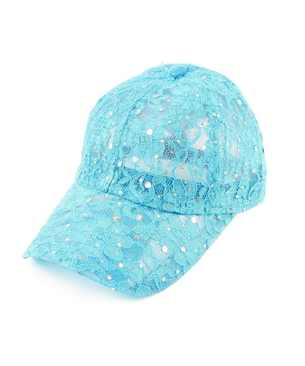 Ladies Pretty Lace Summer Glitter Sparkle Baseball Ball Hat Adjustable - Turquoise - CE11CRYQAIJ