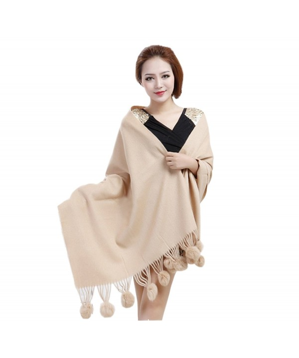MEEFUR Wide Women's Wool and Cashmere Wraps Rabbit Fur Ball Shawls - Camel - C7127HQA285