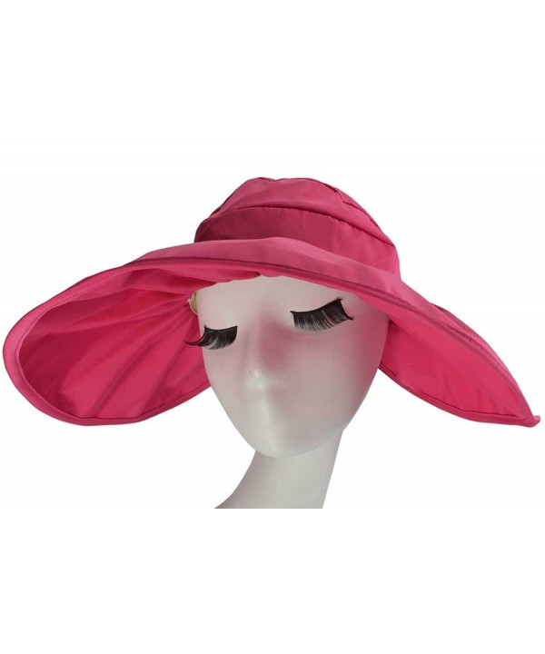 SYAYA Adjustable Summer Beach Sun Visor Foldable Roll up Wide Brim Hat Cap for Girls or Lady XMZ11 - Rose Red - CL121W620WN