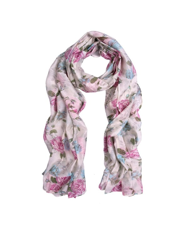 Elegant Roses Print Floral Scarf -Different Colors Available - Lilac - C611IYUZ947