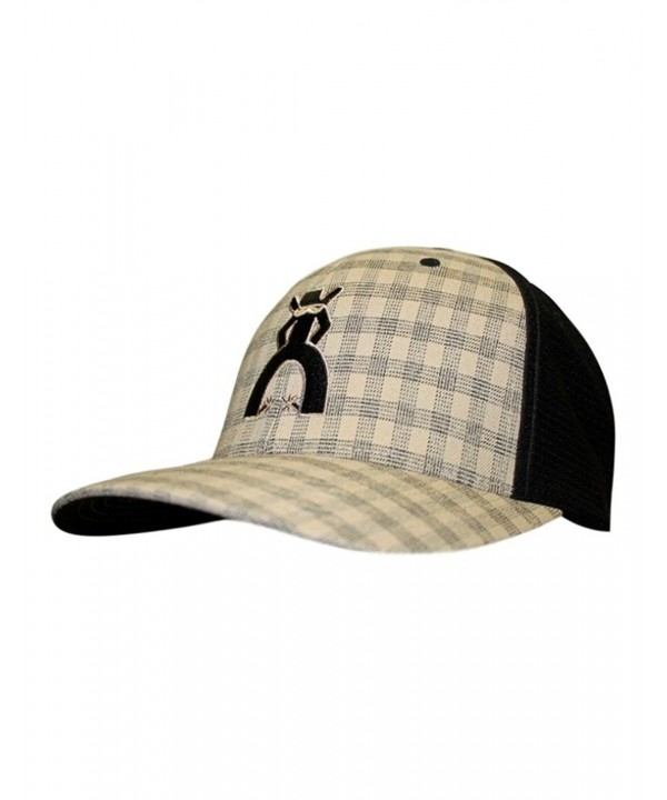 HOOey Brand Punchy Black/Tan Plaid Flexfit Hat - 5009BKTN - C212GAUZGV7