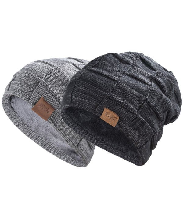 REDESS Beanie Hat For Men and Women Winter Warm Hats Knit Slouchy Thick Skull Cap - Black Dark Gray - C1187GUML7E
