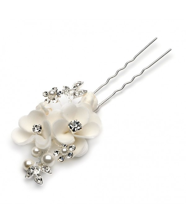 USABride Soft Ivory Simulated Pearl Flower Hairpin- Bridal Hair Stick 2210 - CZ11G0B6PLD