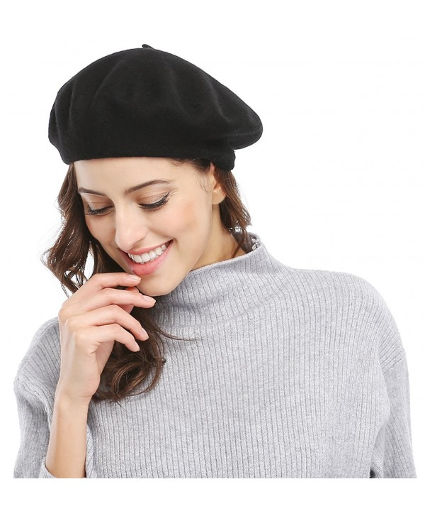 Bellady Women Solid Color French Wool Beret - Black - CC11SWYX8GB
