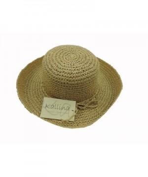 Womens Beige Crocheted Kettle Hat