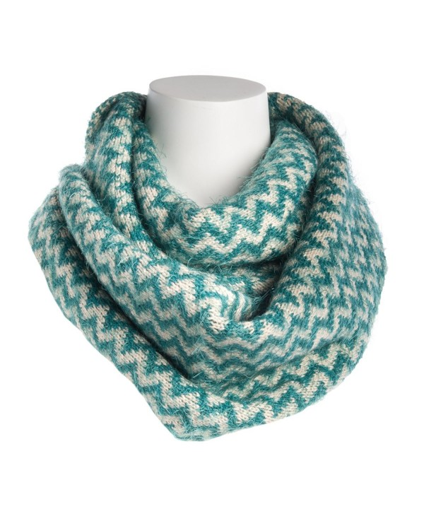 Tickled Pink Women's Chevron Infinity Scarf Soft Warm Winter Lightweight Oversized Shawl Wrap - Teal - CX186AIHW0T