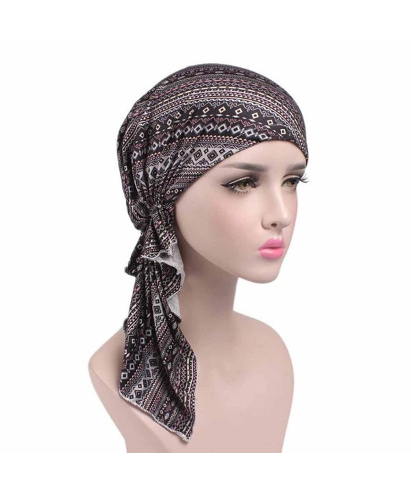 Highpot Women Fashion Printed Cancer Chemo Hat Beanie Scarf Turban Head Wrap Cap - F - CD184SCC83T