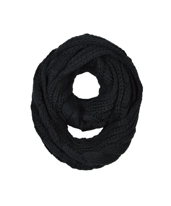 TrendsBlue Premium Winter Twist Knit Warm Infinity Circle Scarf - Diff Colors - Black - CR11GQH9545