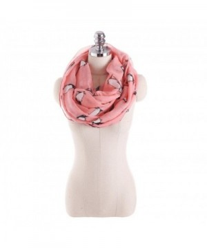 Women Cozy Soft Collar Infinity Scarf Penguin Pattern Sheer Wrap Silk Neck Warmers - Pink - CT187IMZZEM