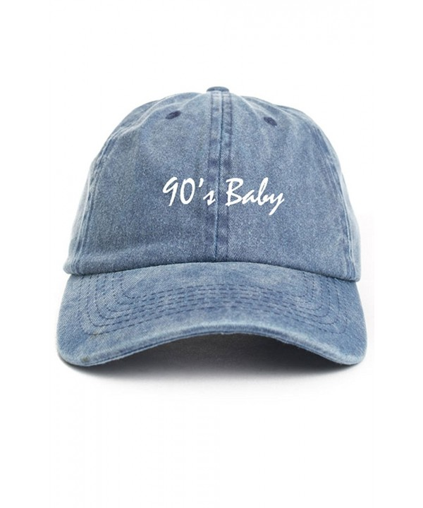 90's Baby Dad Hat Baseball Cap Unstructured Nineties New - Denim - C217AAK47EE