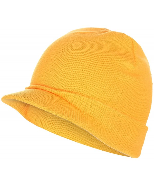 BODY STRENTH Visor Beanie Knit Hat With Brim newsboy Hats Winter Cap For Men Women - Yellow - CY188N99EU5