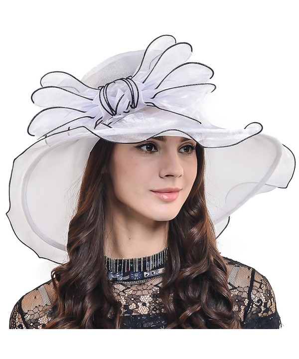 F&N STORY Two-Tone Tea Party KT Derby Church Hat Wedding Dress Hat Bridal Shower 037db - Bowknot-white - CT12ESV7HSB