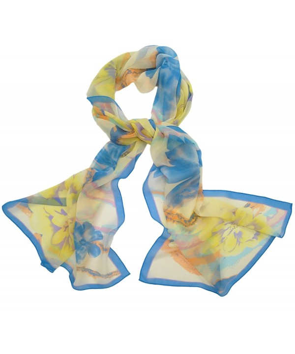 Ayli Women's Mulberry Silk Scarf Long Shawl Wrap Various Style - Flower 7 - CE1282KSX3H
