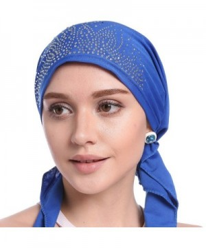 Womens Chemo Hat Beanie Pre Tied Head Scarf Turban Headwear for Cancer Patients - Navy Blue - C318678G3K0