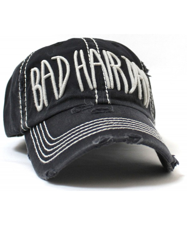 "BLACK Grey Stitch ""BAD HAIR DAY"" Embroidery Vintage Hat - CL184SRMUS7"