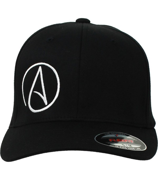 Atheist Offset Symbol Flexfit Baseball Hat Asst Colors - Black - C111H5MZRH9
