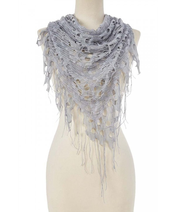 Women Fashion Shabby Chic Triangle Sheer Cutout Fringe Scarf Shawl - Light Bule Gray - CC12MGTVDTV