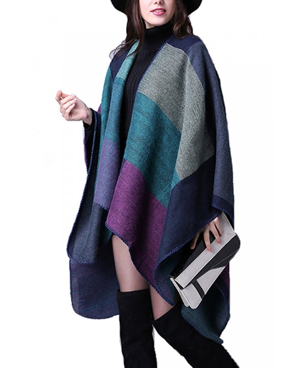 YACUN Women's Winter Long Cape Geometric Pattern Poncho Wrap Shawl Scarf - Purple - C712M7XPQWV