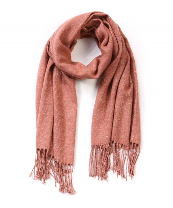EUPHIE YING Womens Rich Solid Color Long Soft Winter Scarf - Darksalmon - CW1867YX530