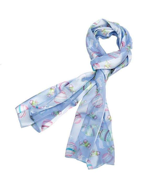 Pastel Colored Easter Silk Feel Scarf with Eggs- Bunnies and Flowers - Blue - C711J6SVJWH