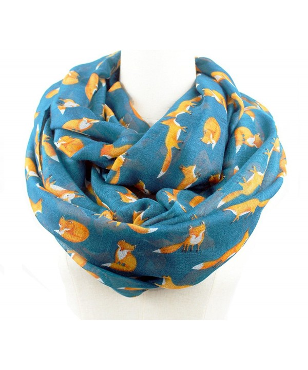 Euter Women Soft Scarf Foxes Print Pattern Scarves Shawl Wrap Gift for Her - Infinity Dark Green - CJ187Z4NT6M