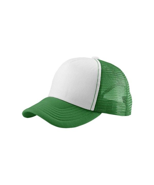 MG Women's Foam Mesh Summer Trucker Cap Hat - White/Kelly Green - C311NY8QC3B