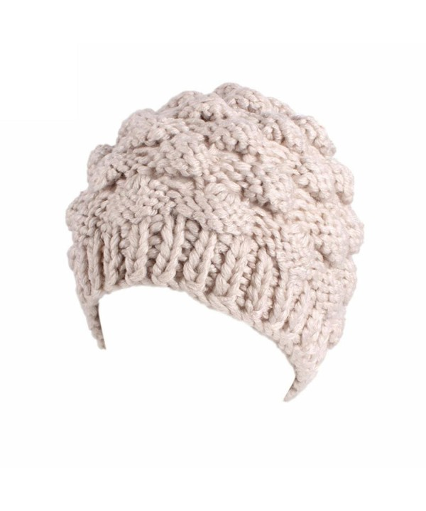 Showking Fashion Women Winter Outdoor Retro Warm Knitting Turban Brim Hat Pile Cap - Beige - CT189CQT0IY