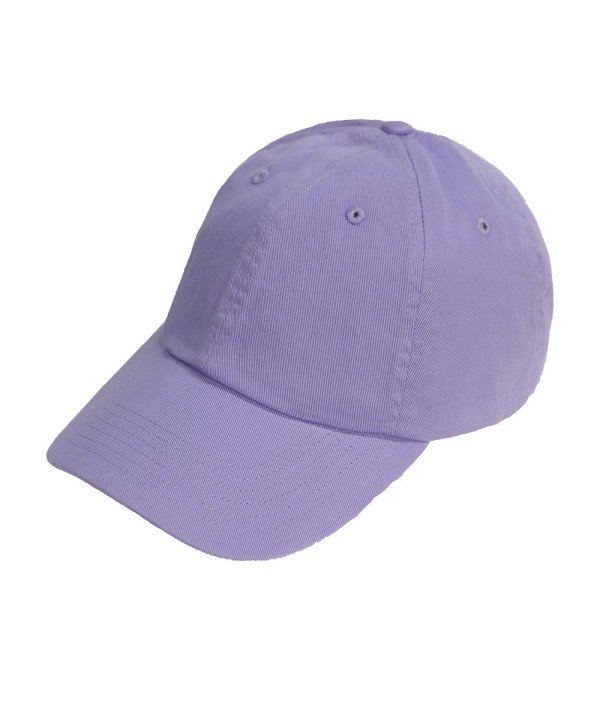 Bio-Washed Unstructured Cotton Adjustable Low Profile Strapback Cap - Lavender - CQ12EXQQ2UP
