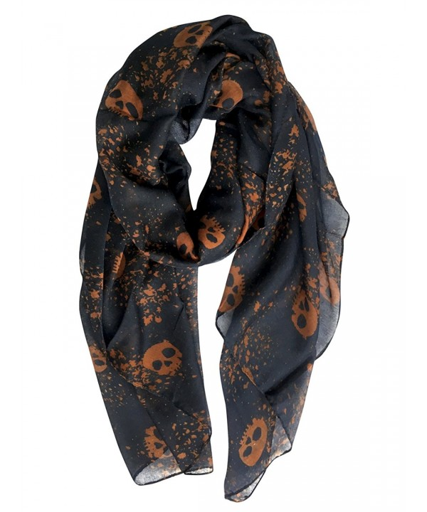 GERINLY Cool Skull Print Wrap Scarf Lightweight Winter Scarves - Blue Black - CP185HZAKQH