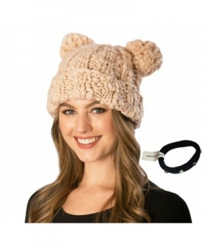 Simonetta Women's Handcrafted Soft Chunky Knitted Double Pom Pom Beanie Hat With Hair Tie. - Pink - CY186D8HAYU