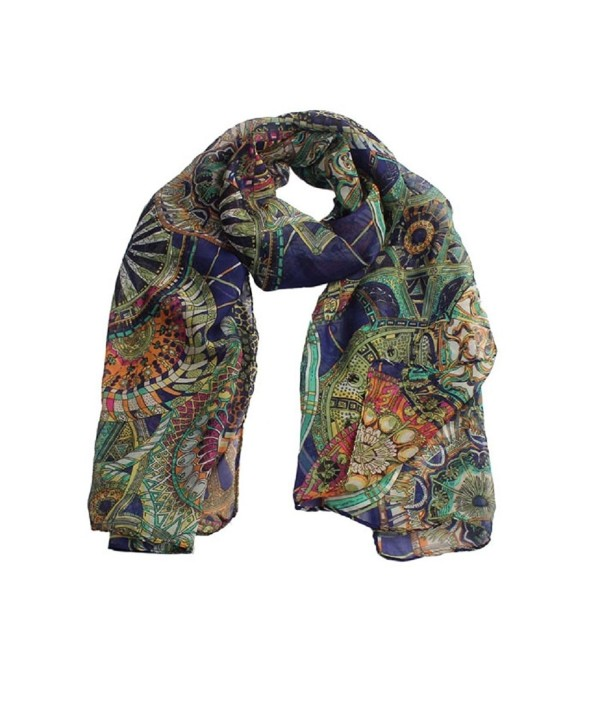 Women Scarf- Bigban Fashion Women Girl Chiffon Printed Long Soft Shawl Scarf - Navy - C912M2EA51B