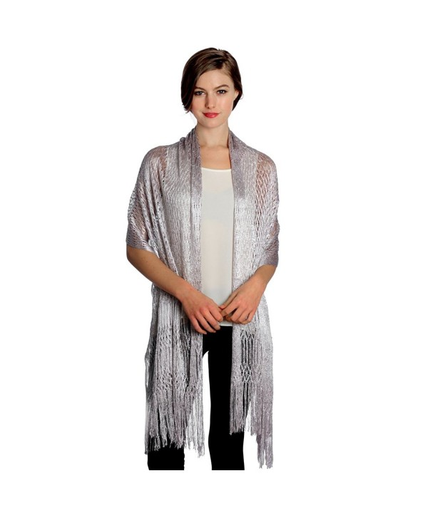 Women's Modern Metallic Fishnet Acrylic Party Shawl Fringe Lurex Evening Scarf - Silver - CB12C6DNHJV