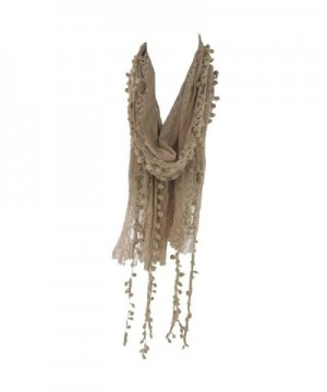 Silver Fever Elegant Skinny Lace Scarf with Pompoms - Bronze Tan - CT12F6S03TP
