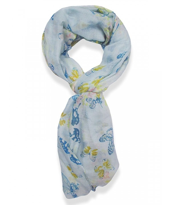 V28 Womens Colorful Printed Butterflies Fashion Scarf - Blue - CT11M89XRF3