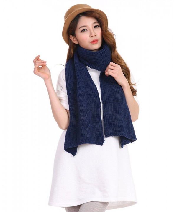 Anboor Luxurious Thick Knitted Scarf with Solid Color Super Warm Shawl for Women - Navy Blue - CZ185Y502WN