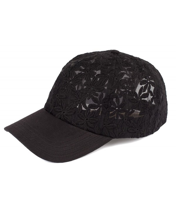 Funky Junque Womens Floral Daisy Peony Flower Print Velcro Baseball Cap Hat - Sheer Daisy - Black - CP17YLN968T