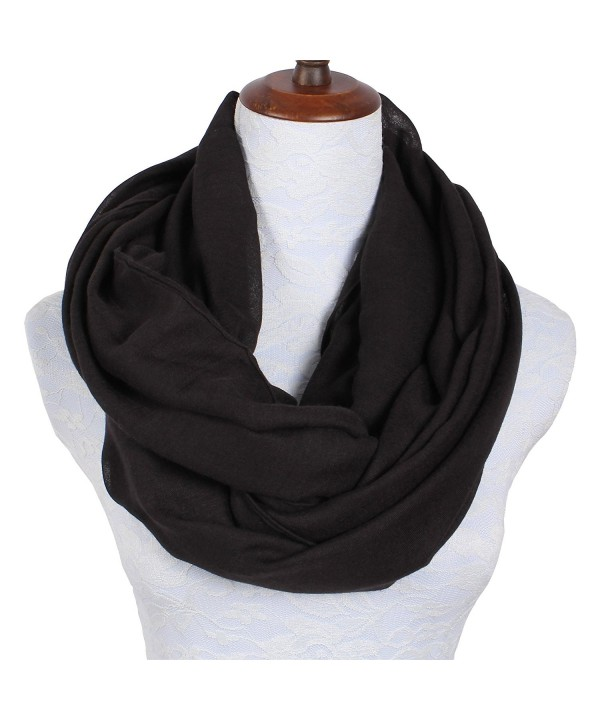Lightweight Scarfs for Women Solid Infinity Scarf - Solid Infinity Scarf Black - CY1800KXR4D