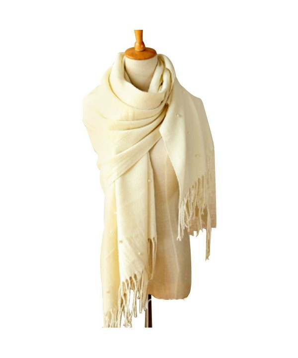 Women's Long Soft Elegant Pashmina Warm Scarves Wraps With Tassel - White - CD127IKF31R