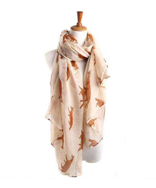 Womens Fun Cute Cartoon Fox Pattern Scarf Wrap Lightweight Soft Sheer Scarves - Beige - CJ12NTIQ3JL
