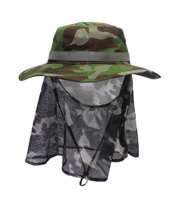 Home Prefer Outdoor Men's Sun Hat Wide Brim Neck Flaps UPF 50+ Fishing Hat - Army Green - CJ12DTPBEN1