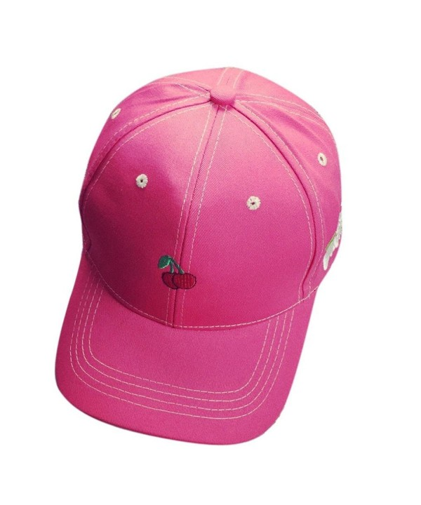 OutTop Fruit Embroidery Cotton Baseball Cap Boys Girls Snapback Hip Hop Flat Hat - Watermelon Red - CP12H64AXZP