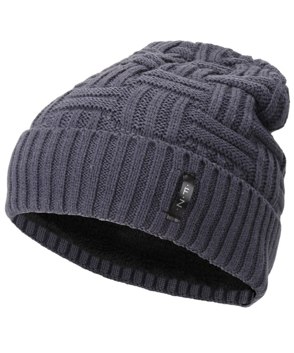 Fantastic Zone Beanies Skull Caps Striped Knit Skull Caps Beanie Winter Hats for Men - Grey - CA1857QWL8G