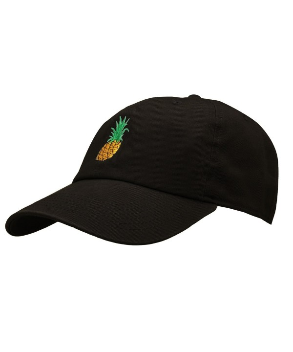 Pineapple Dad Hat Baseball Cap Polo Style Unconstructed - Black - CJ1800CQ9KC