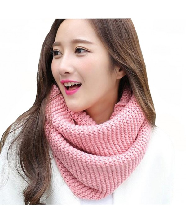 ISADENSER Womens Winter Thick Knit Infinity Scarf Fashion Circle Loop Scarves Thick Warm - A Pink - C1186UWL7UE