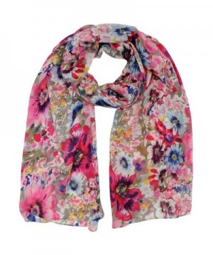 Vibrant Colorful Floral Spring Shawl Wrap - Beige - CR115WOXL9N