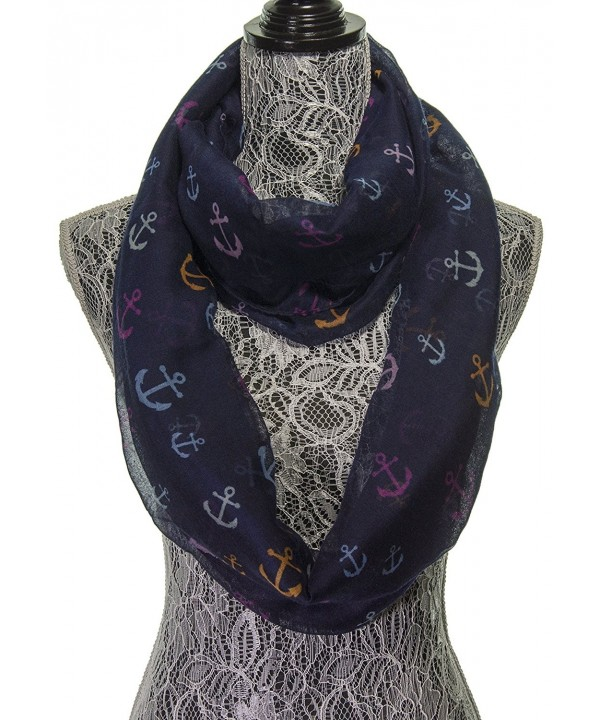 Scarfs for Women - Anchor Cute Sheer Nautical Circle Scarf - Fashion Infinity Womens Scarves - Navy Blue - CF11K0QZJG1