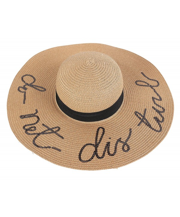 Kaisifei Women's Paper Weaved Beach Cursive Embroidered Adjustable Brim Sun Hat - Khaki - CX12EHUYJFH